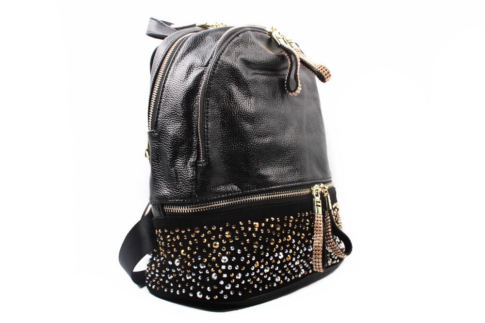 Рюкзак модельный, эко-кожа, цвет черный, размер средний, квадратная форма