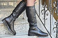 Женские зимние высокие сапожки черные хорошая натуральная кожа удобная колодка Львов (Код: Ш937а)