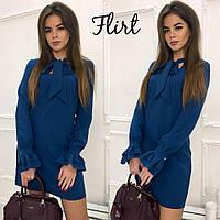 Короткое синее платье из костюмной ткани тв-11010-5