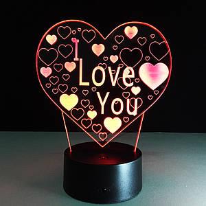 Ночник детский, 3D лампа, Я Люблю Тебя