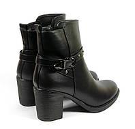 Женские осенние ботинки на каблуке черные, фото 1