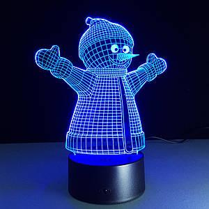 Светильник детский, 3D лампа Снеговик
