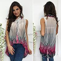 Стильная, женская рубашка-блуза, ткань шифон, размеры Норма: 42-44, 46-48. Разные цвета., фото 1