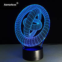 Светильник 3D, Ночник 3D, Лампа 3D,  Колечки