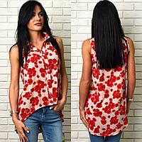 """Блузка """"Розочка"""", удлиненная блуза-рубашка. Ткань штапель, разные размеры и цвета., фото 1"""