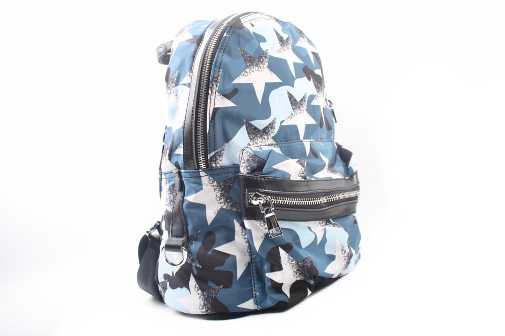 Рюкзак текстильный, цвет голубой, размер средний, квадратная форма