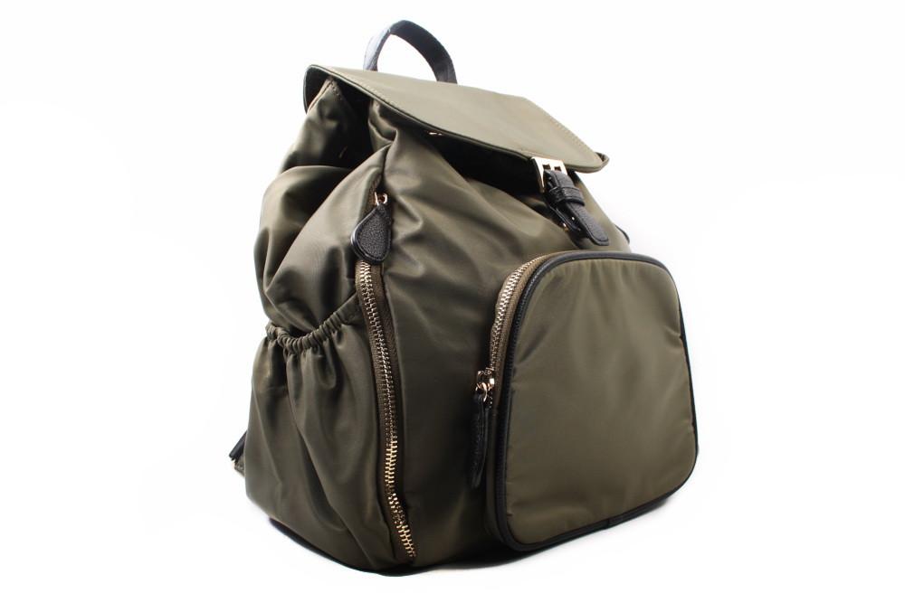 Рюкзак текстильный, цвет зеленый, размер средний, квадратная форма