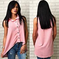 Блузка женская, удлиненная блуза-рубашка. Ткань штапель, цвет розовый, размер единый 46-48.