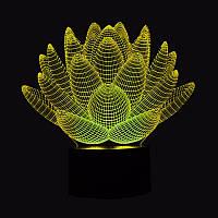 Светильник 3D, Ночник 3D, Лампа 3D,  Цветок Лотос
