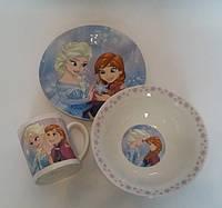 Детский набор посуды из керамики Холодное сердце, 3 предмета