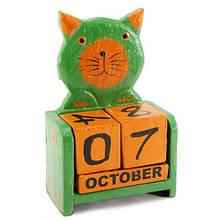 Деревянный настольный календарь Кот