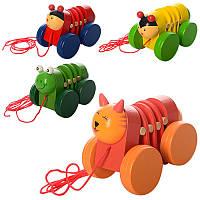 Деревянная игрушка Каталка MD 1032 (120шт) 11см, на шнурке, 4 вида(животное), в кульке, 11-7-8см