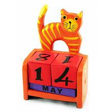 Настольный календарь оранжевый Кот дерево