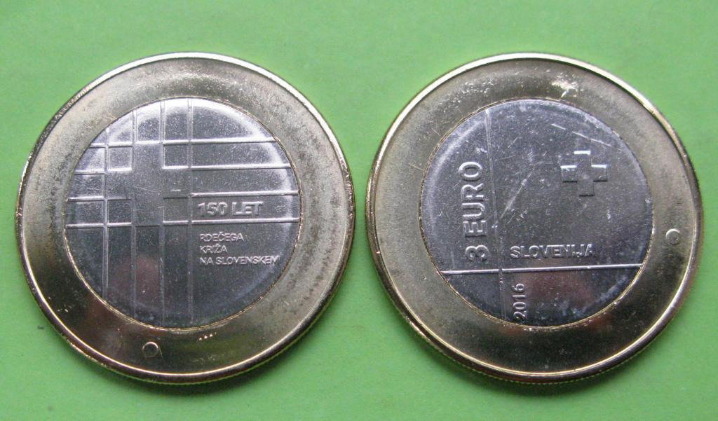 Словения 3 евро 2016 г. 150 лет Красному Кресту Словении ,UNC