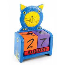 Календарь из деревянных кубиков Кот