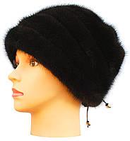 Меховая шапка из норки,Жасмин (черная)