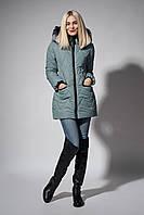 Зимняя женская молодежная куртка. Код К-107-36-18. Цвет оливковый.