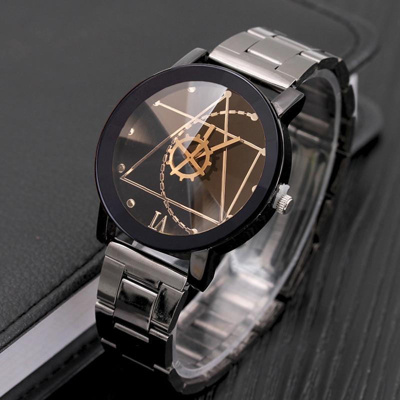 Женские часы Triangle с черным циферблатом, жіночий годинник, женские наручные часы на металлическом браслете