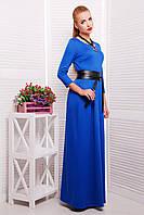 Модное молодежное женское синее макси платье в пол р.S