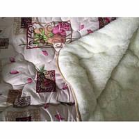 """Теплу ковдру двоспального розміру з овечої вовни """"Лері Макс"""" - трояндочки"""
