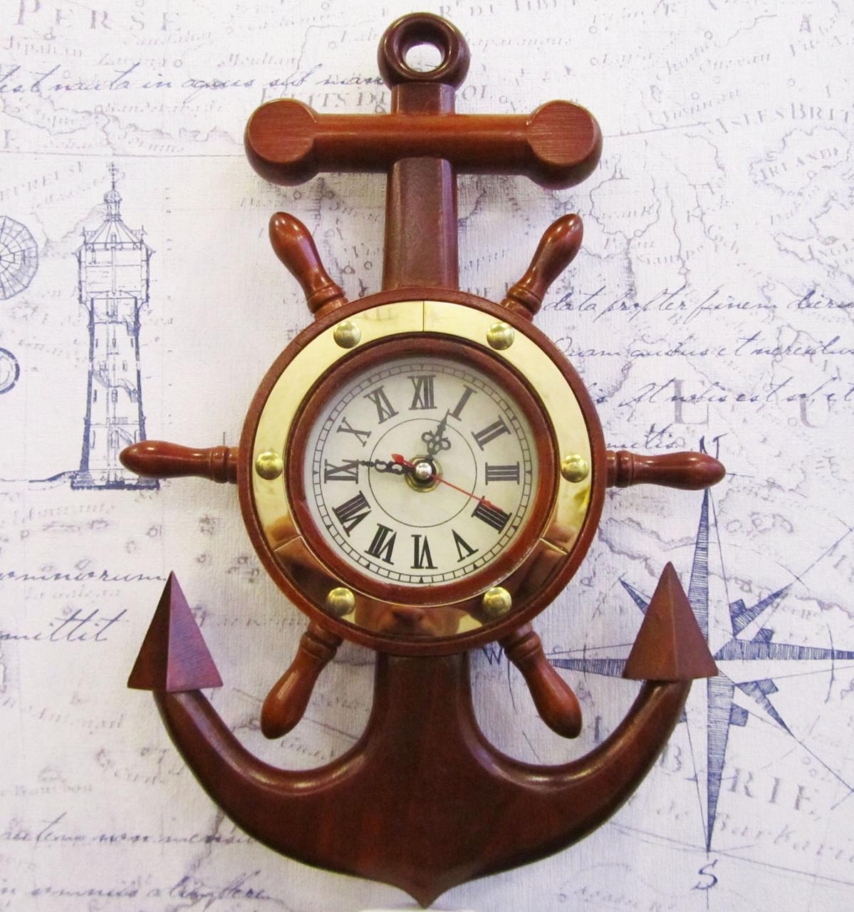 Якорь-часы из дерева