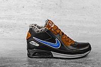 Мужские кроссовки Nike Синий\Коричн, натуральная кожа, набивная шерсть, размеры 40,41,42,43,44,45