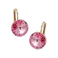 Серьги маленькие с французской застежкой с розовыми камнями Сваровски позолота