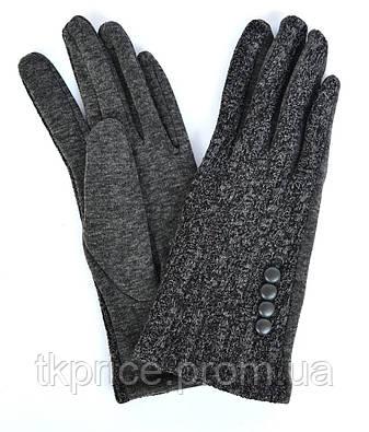 Женские серые трикотажные перчатки на флисовой подкладке, фото 2