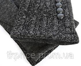 Женские серые трикотажные перчатки на флисовой подкладке, фото 3