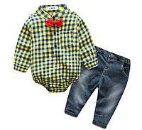 Комплект джинсы и боди-рубашка с бабочкой (желт) 90,95, фото 1