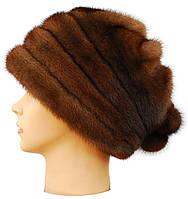 Женская норковая шапка,Барби (орех)