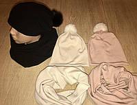 Стильные наборы с удлинённой шапкой и натуральным бумбоном