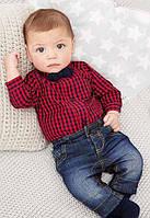 Комплект джинсы и боди-рубашка  с бабочкой (красн)  95
