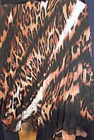 Юбка плиссе солнце-клёш шифон леопард короткая