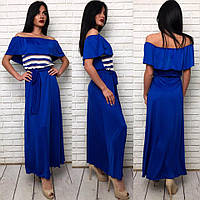 """Платье женское """"Шик"""", длинное платье. Ткань: микро-масло + органза. Размер: 42-46 универсал, цвет на фото."""