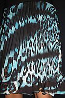 Юбка плиссе солнце-клёш шифон леопард бирюза короткая