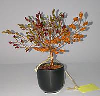 Денежное осеннее дерево из бисера