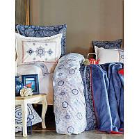 Набор постельное белье с покрывалом + плед Karaca Home - Coastal Mavi 2018-1 голубой евро