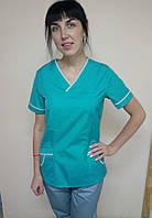 Медицинский женский костюм без застежки 60, Салат/серый