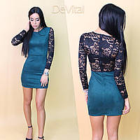 Замшевое платье с рукавами и спинкой из гипюра 2403588 коричневый