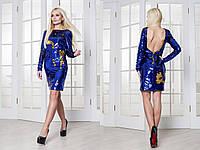 Платье из двухсторонней пайетки-хамелеон с открытой спиной 3103613