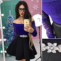 Юбочный женский костюм с юбкой - солнце и гипюровой кофтой 6610218