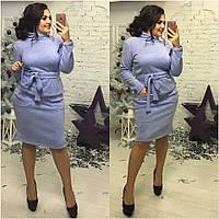 Ангоровое платье большого размера с горловиной и под пояс 1615333