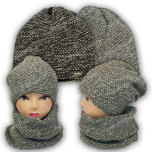 Комплект шапка и шарф (хомут) для мальчика, р. 54-56, Grans (Польша), утеплитель флис, B282P