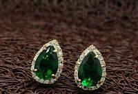 Серьги Хюррем Султан зеленые позолота цирконий