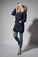 Зимняя женская парка. Код К-110/E-62-18. Цвет синий джинс.