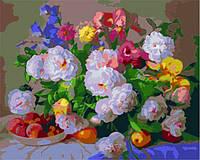 """Роспись картины на холсте по номерам """"Цветы и персики"""", MG281, 40х50см."""