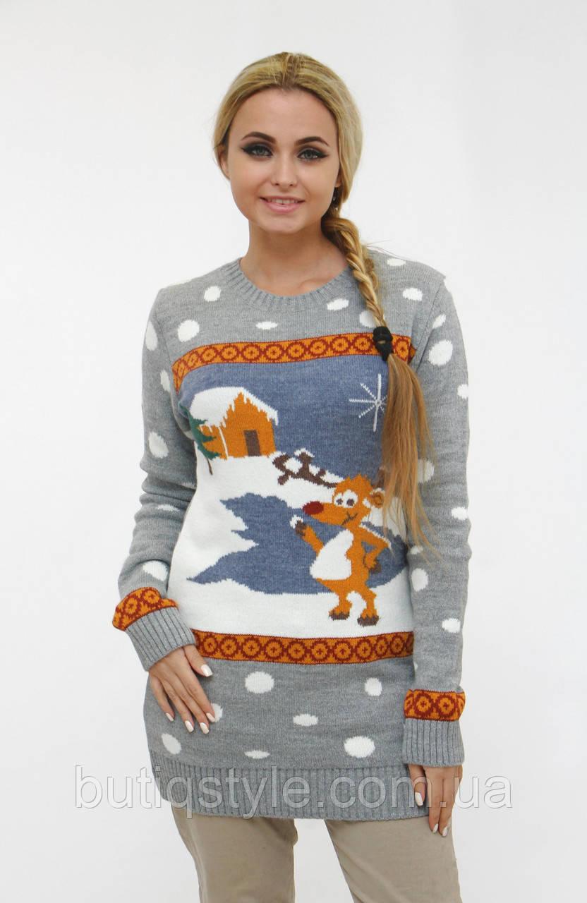 Модный удлиненный теплый свитер туника с оленем