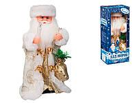 Дед мороз музыкальный бело-золотом кафтане 30 см