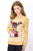 Модный теплый женский свитер с оленем